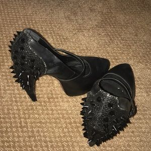 Spike black heels leather